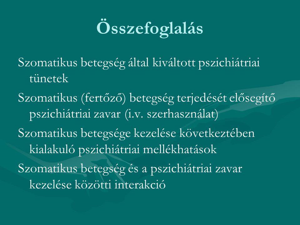 Összefoglalás Szomatikus betegség által kiváltott pszichiátriai tünetek.