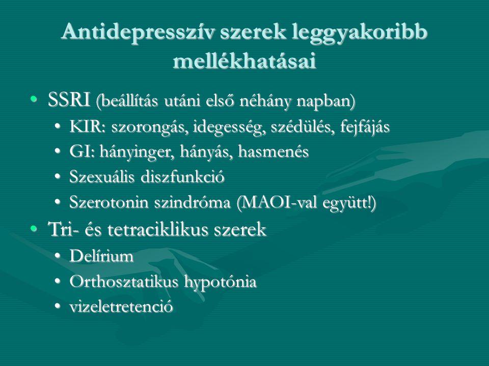 Antidepresszív szerek leggyakoribb mellékhatásai