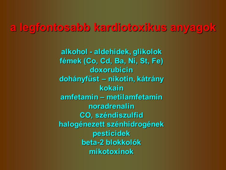 a legfontosabb kardiotoxikus anyagok