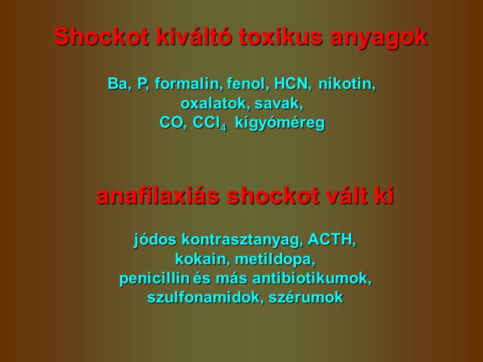 Shockot kiváltó toxikus anyagok anafilaxiás shockot vált ki