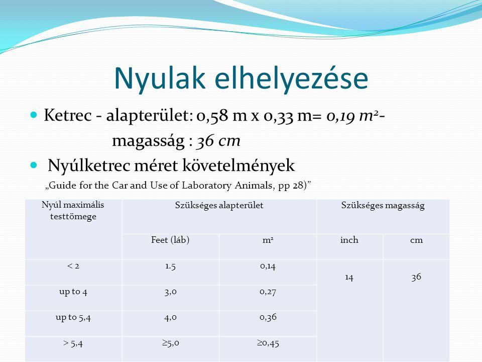 Nyulak elhelyezése Ketrec - alapterület: 0,58 m x 0,33 m= 0,19 m2-