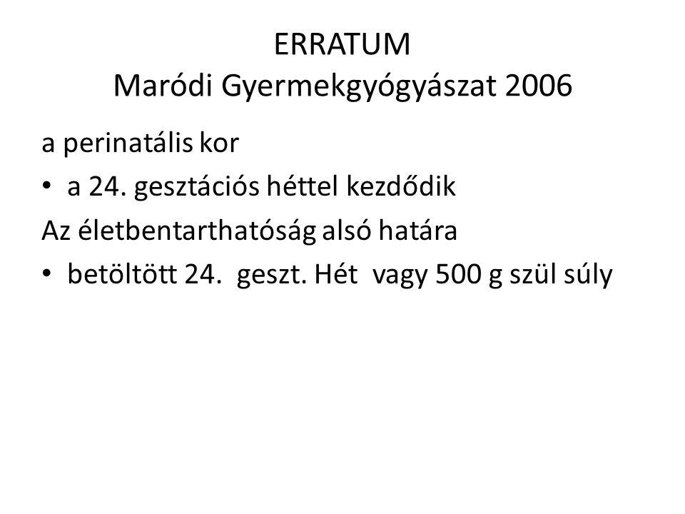 ERRATUM Maródi Gyermekgyógyászat 2006