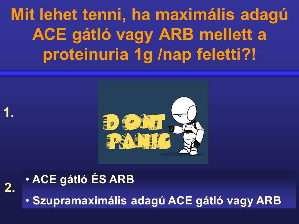 Mit lehet tenni, ha maximális adagú ACE gátló vagy ARB mellett a proteinuria 1g /nap feletti !