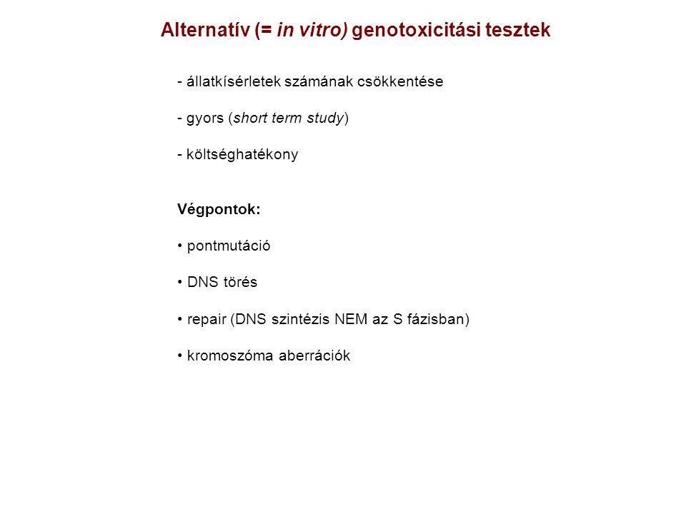 Alternatív (= in vitro) genotoxicitási tesztek