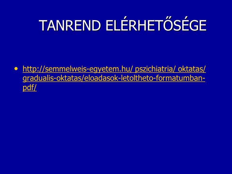 TANREND ELÉRHETŐSÉGE http://semmelweis-egyetem.hu/ pszichiatria/ oktatas/ gradualis-oktatas/eloadasok-letoltheto-formatumban-pdf/