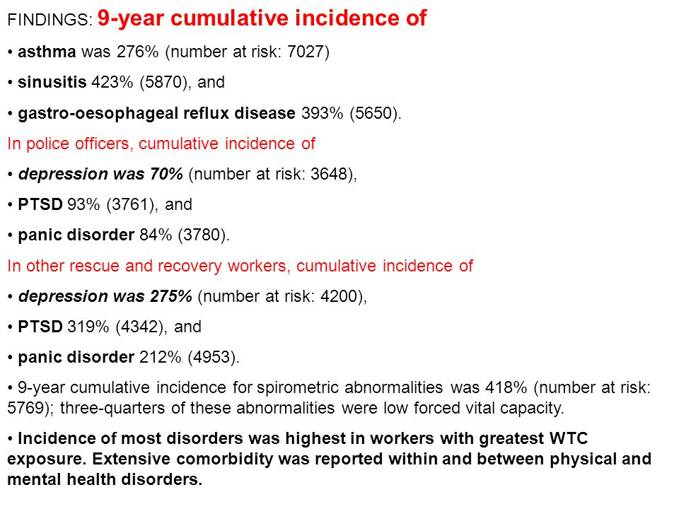 FINDINGS: 9-year cumulative incidence of
