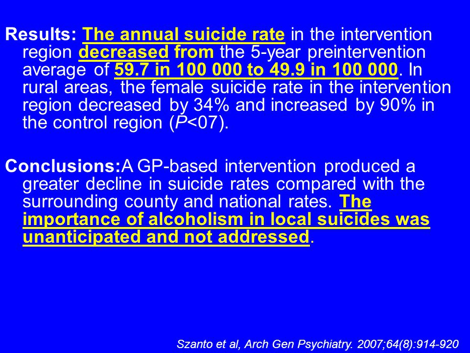 Results: The annual suicide rate in the intervention region decreased from the 5-year preintervention average of 59.7 in 100 000 to 49.9 in 100 000. In rural areas, the female suicide rate in the intervention region decreased by 34% and increased by 90% in the control region (P<07).