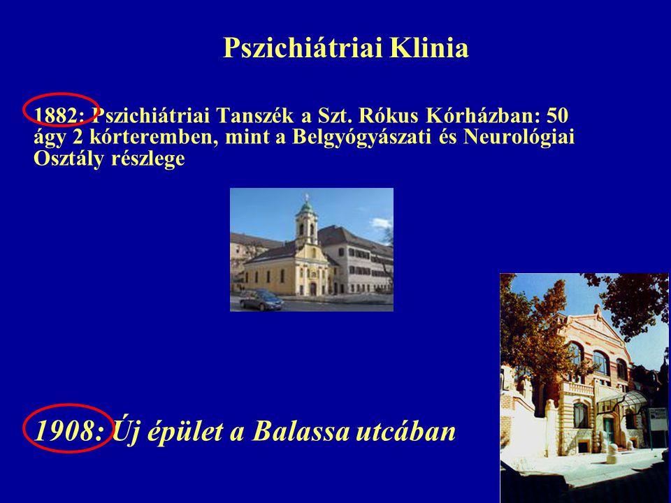 Pszichiátriai Klinia 1908: Új épület a Balassa utcában