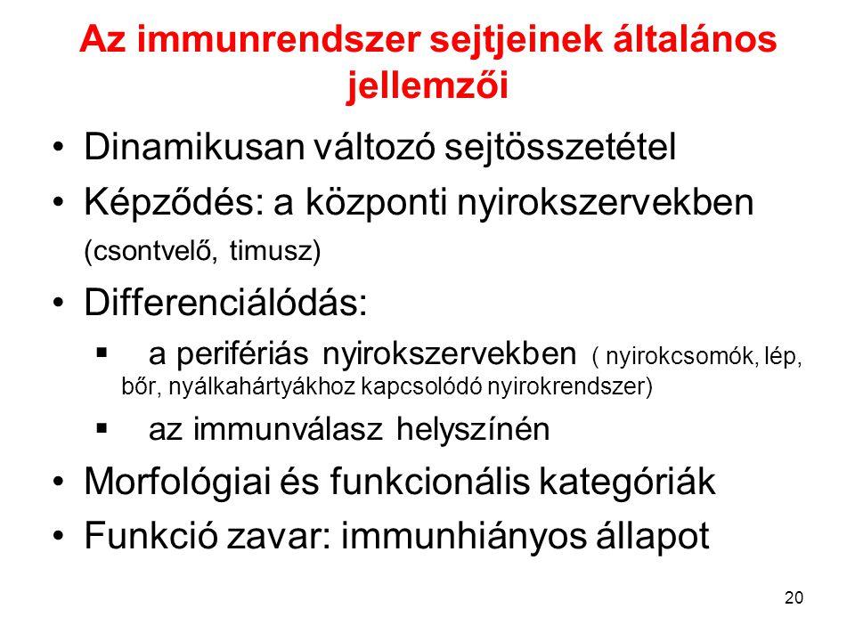 Az immunrendszer sejtjeinek általános jellemzői