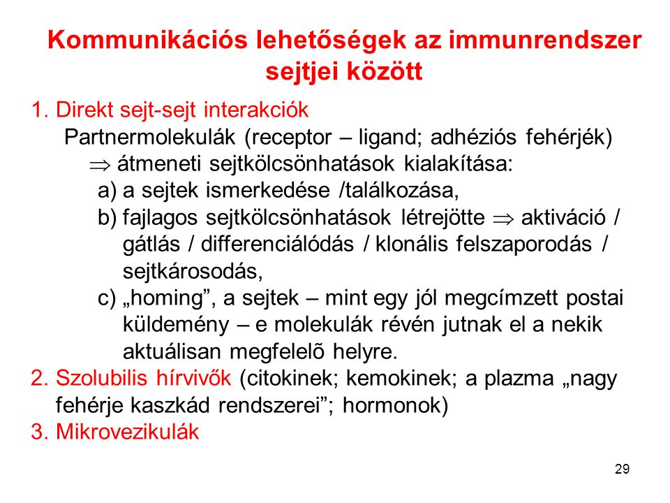 Kommunikációs lehetőségek az immunrendszer sejtjei között