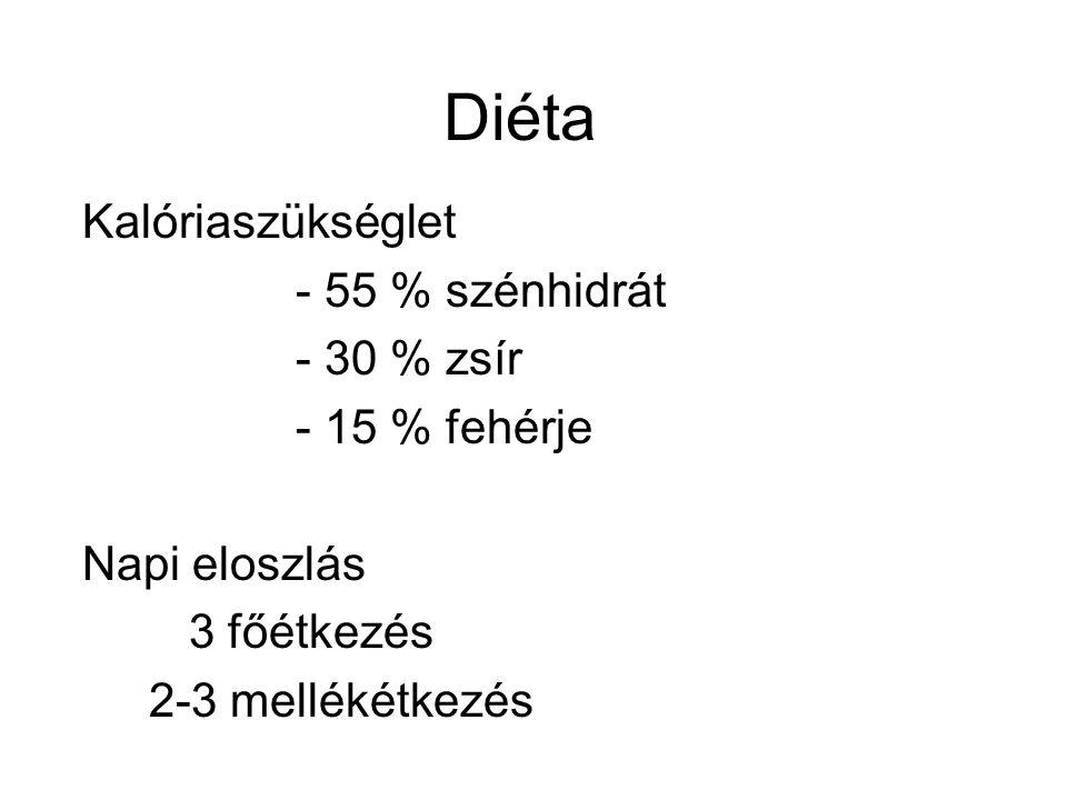 Diéta Kalóriaszükséglet - 55 % szénhidrát - 30 % zsír - 15 % fehérje