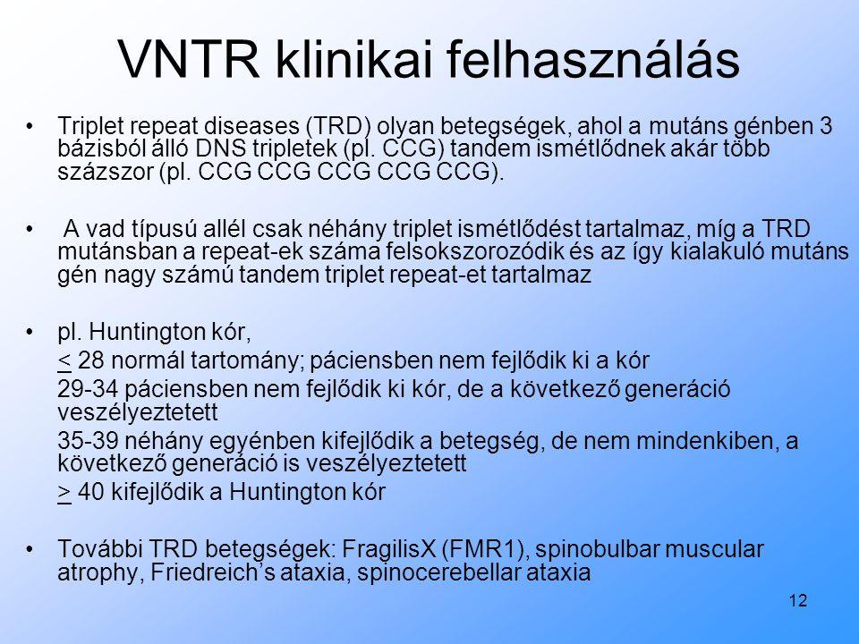 VNTR klinikai felhasználás