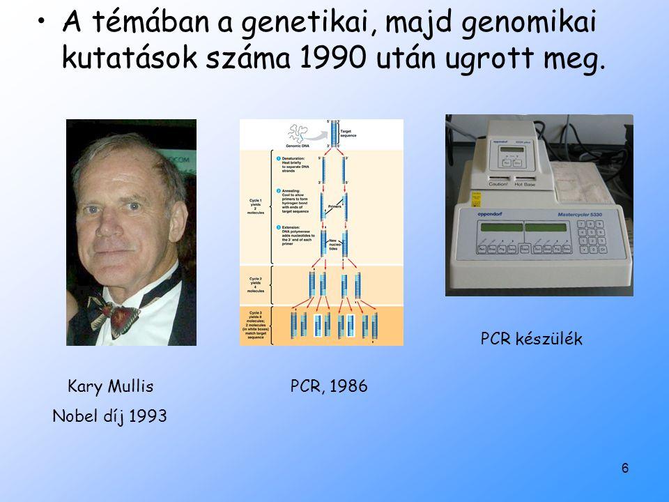 A témában a genetikai, majd genomikai kutatások száma 1990 után ugrott meg.