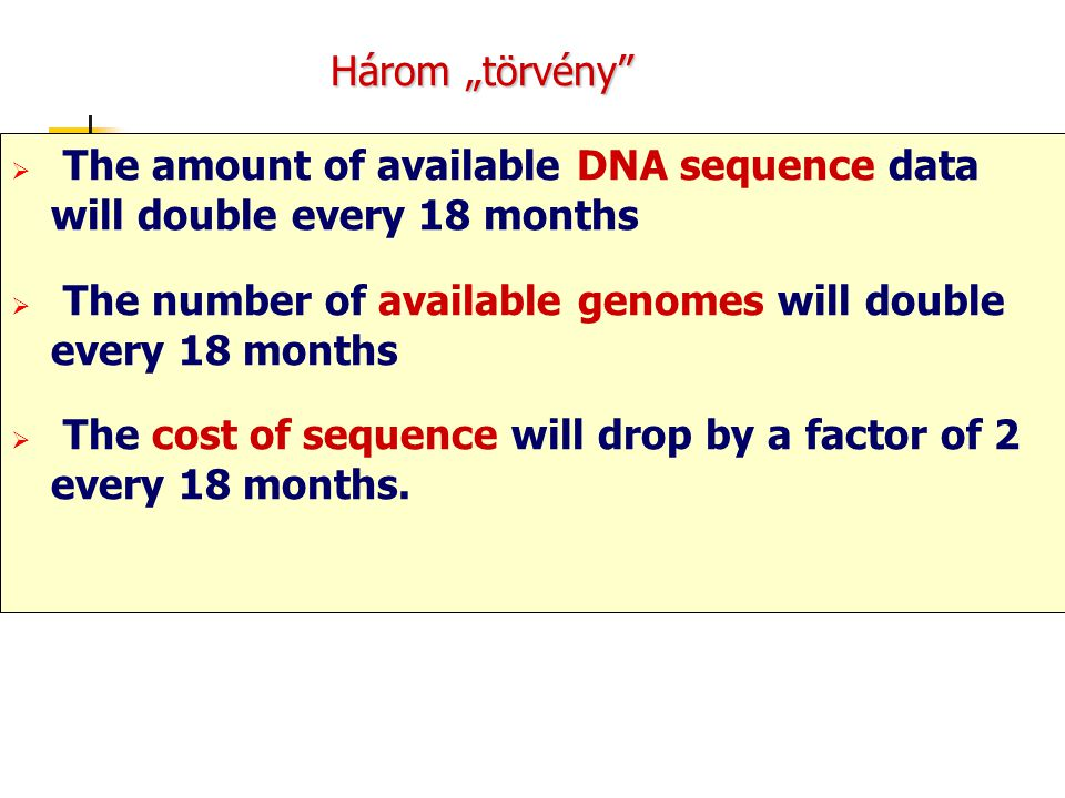 "Három ""törvény The amount of available DNA sequence data will double every 18 months. The number of available genomes will double every 18 months."