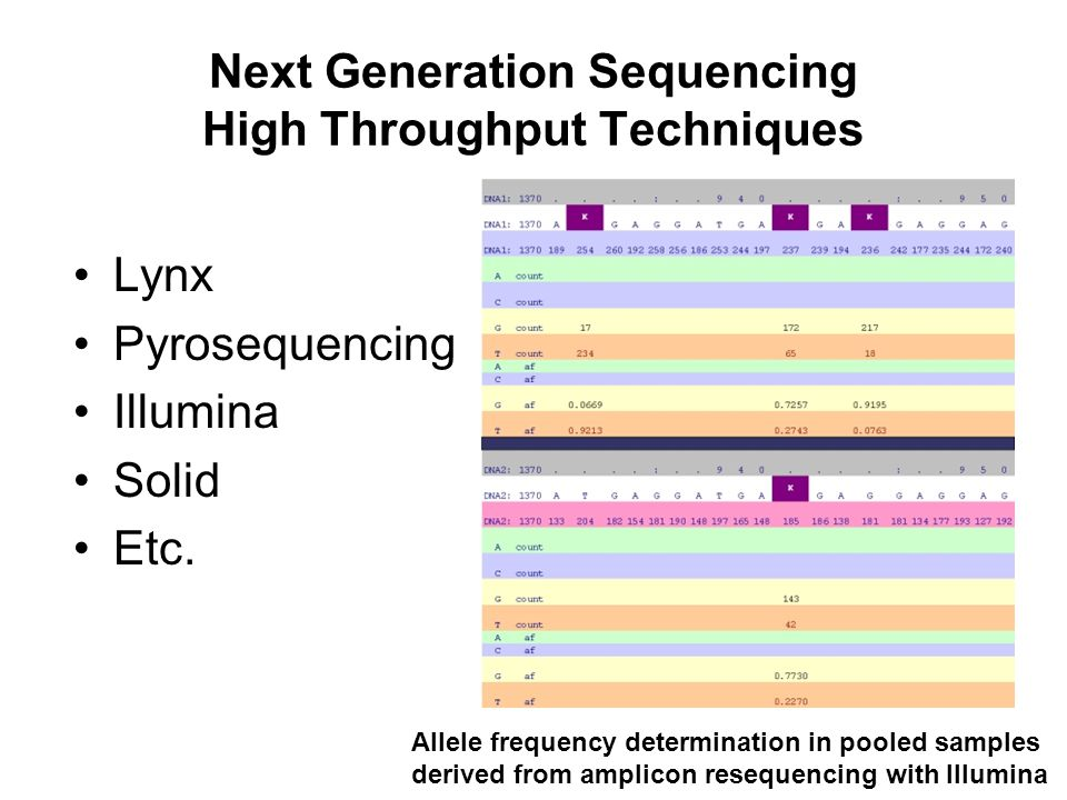 Next Generation Sequencing High Throughput Techniques