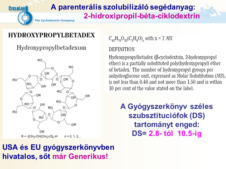 A Gyógyszerkönyv széles szubsztituciófok (DS) tartományt enged: