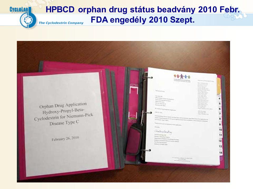 HPBCD orphan drug státus beadvány 2010 Febr. FDA engedély 2010 Szept.