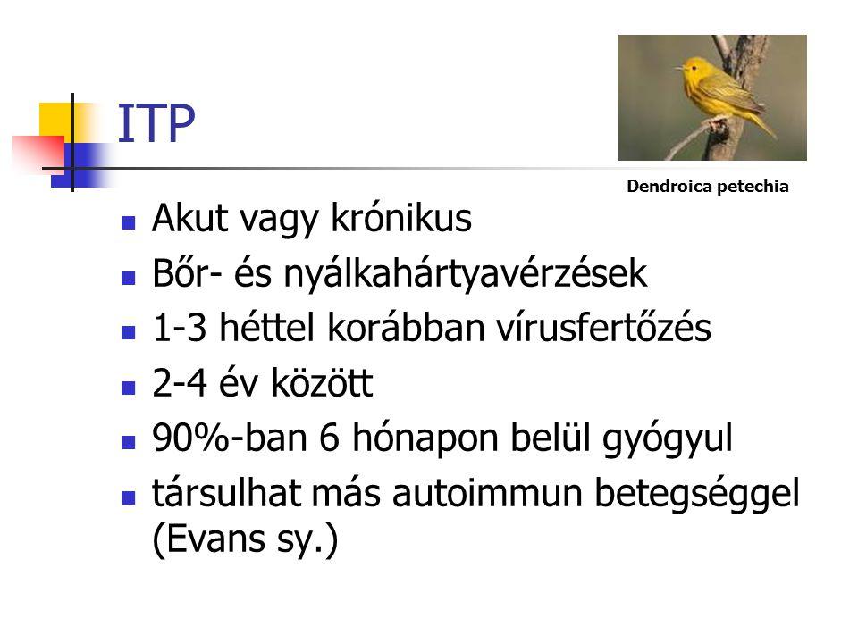 ITP Akut vagy krónikus Bőr- és nyálkahártyavérzések