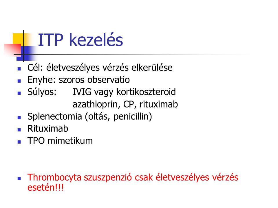ITP kezelés Cél: életveszélyes vérzés elkerülése