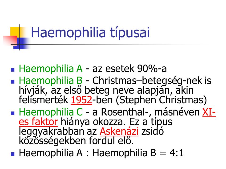 Haemophilia típusai Haemophilia A - az esetek 90%-a