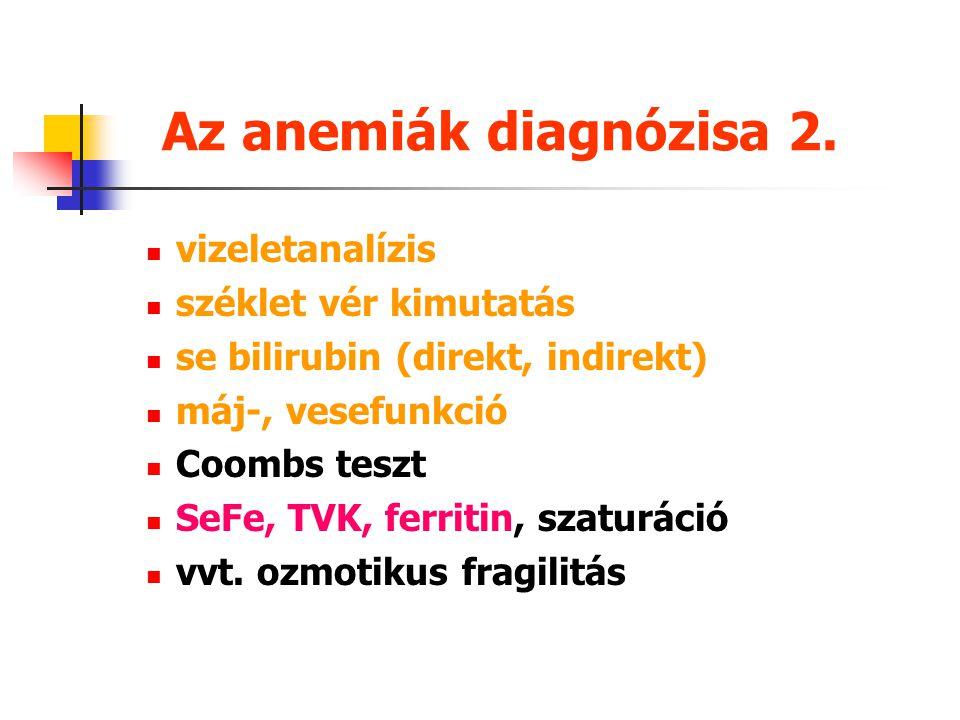 Az anemiák diagnózisa 2. vizeletanalízis széklet vér kimutatás