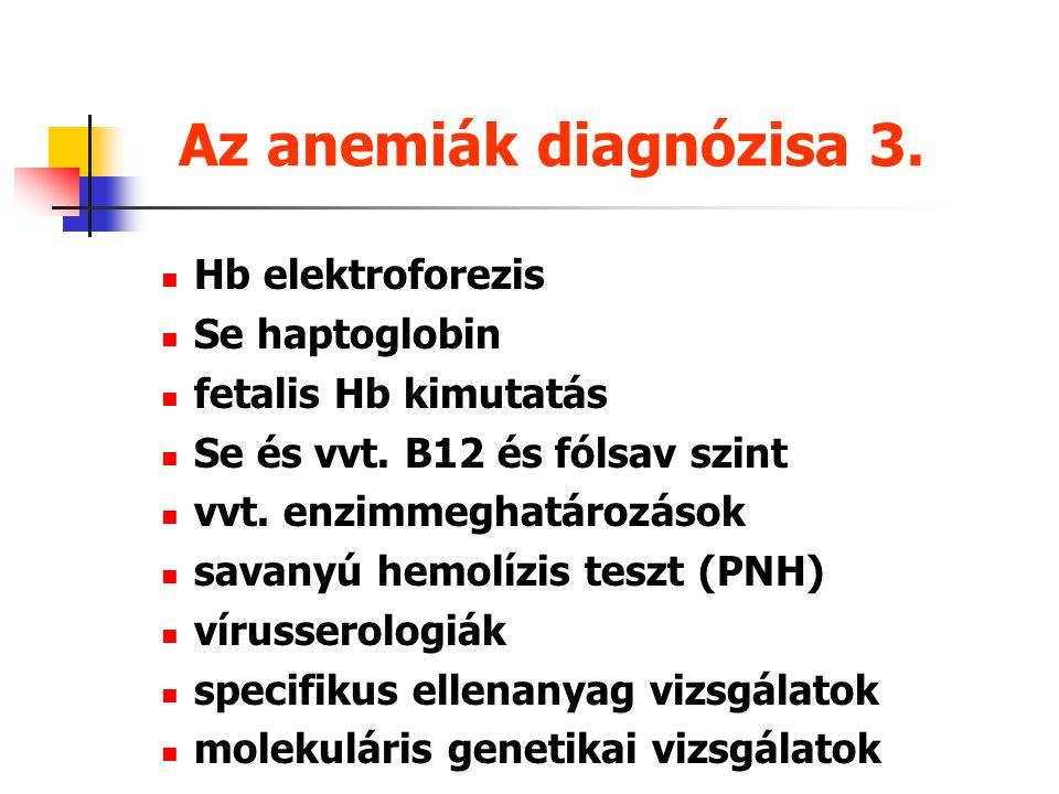 Az anemiák diagnózisa 3. Hb elektroforezis Se haptoglobin