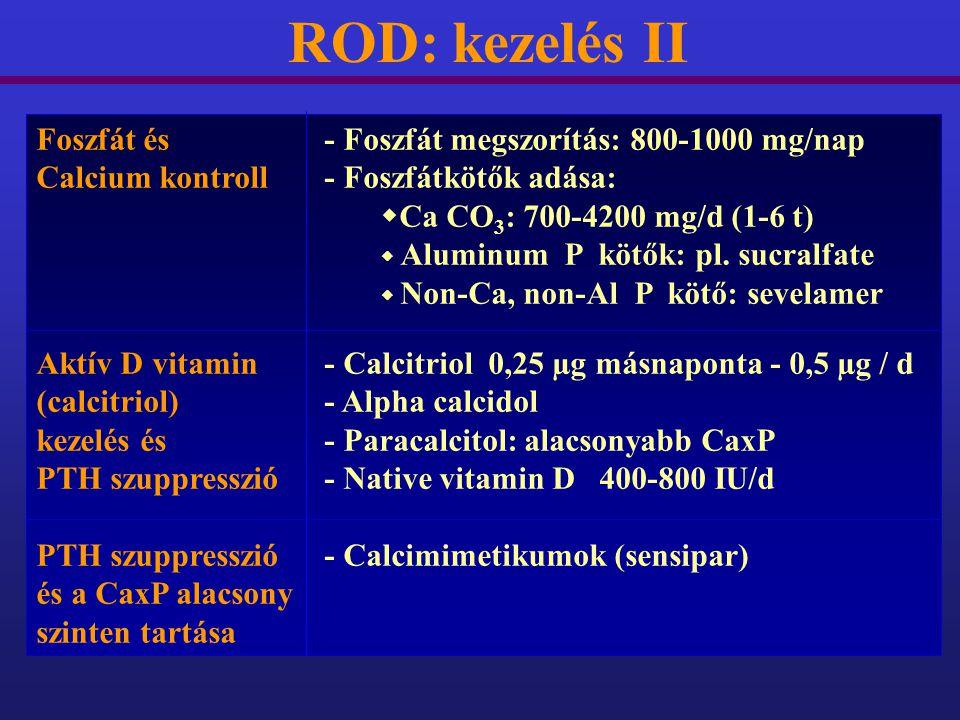 ROD: kezelés II Foszfát és - Foszfát megszorítás: 800-1000 mg/nap