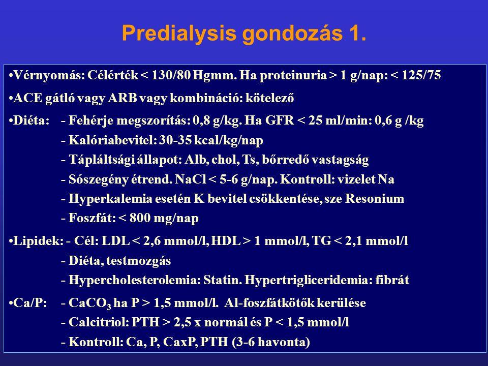 Predialysis gondozás 1. Vérnyomás: Célérték < 130/80 Hgmm. Ha proteinuria > 1 g/nap: < 125/75. ACE gátló vagy ARB vagy kombináció: kötelező.