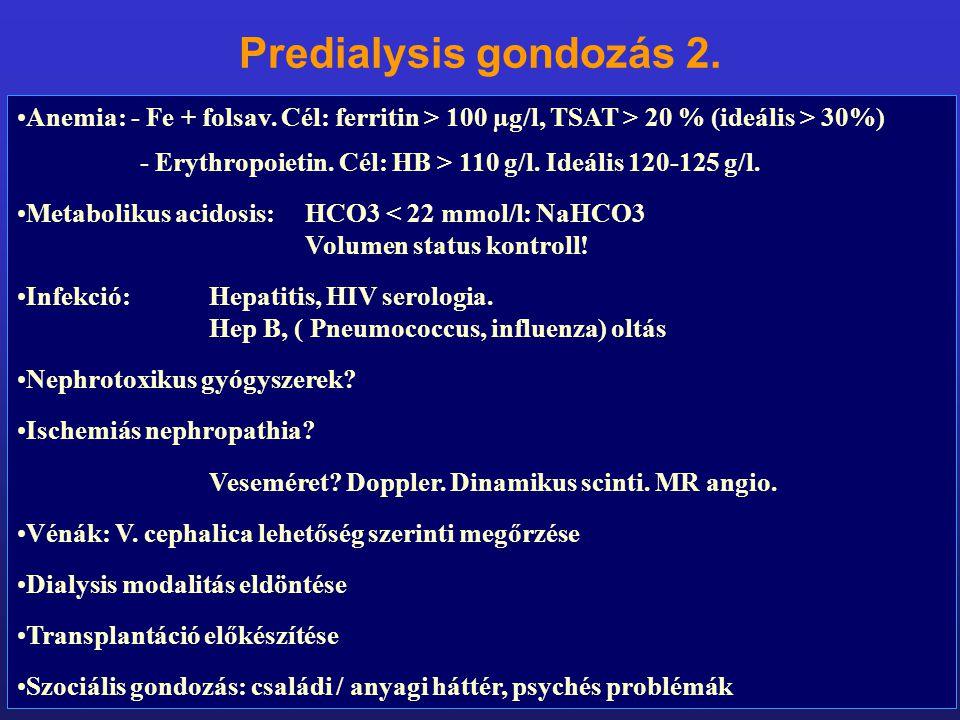 Predialysis gondozás 2. Anemia: - Fe + folsav. Cél: ferritin > 100 µg/l, TSAT > 20 % (ideális > 30%)