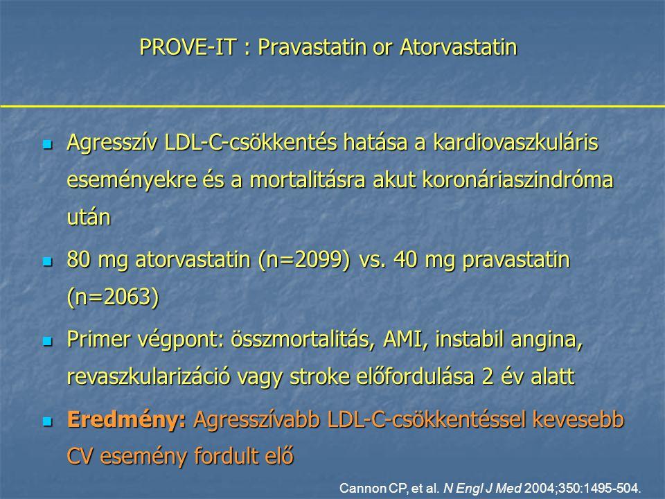 PROVE-IT : Pravastatin or Atorvastatin