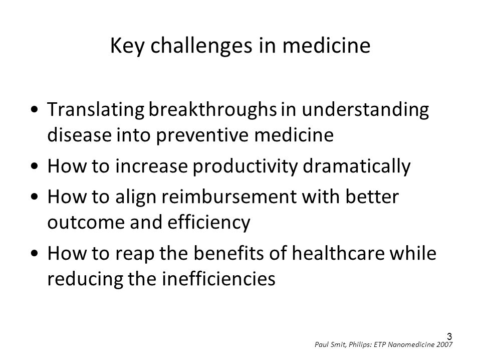 Key challenges in medicine