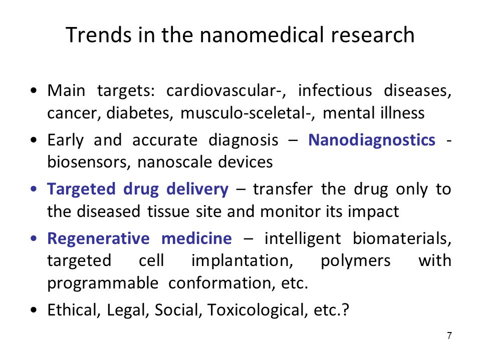 Trends in the nanomedical research