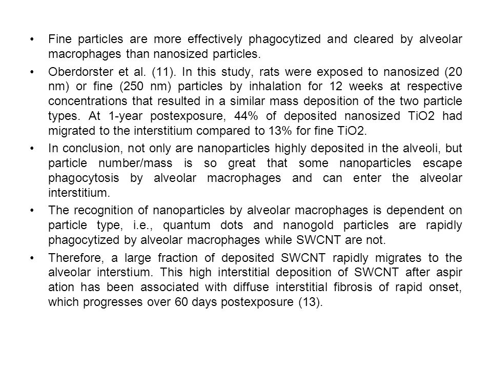 Fine particles are more effectively phagocytized and cleared by alveolar macrophages than nanosized particles.