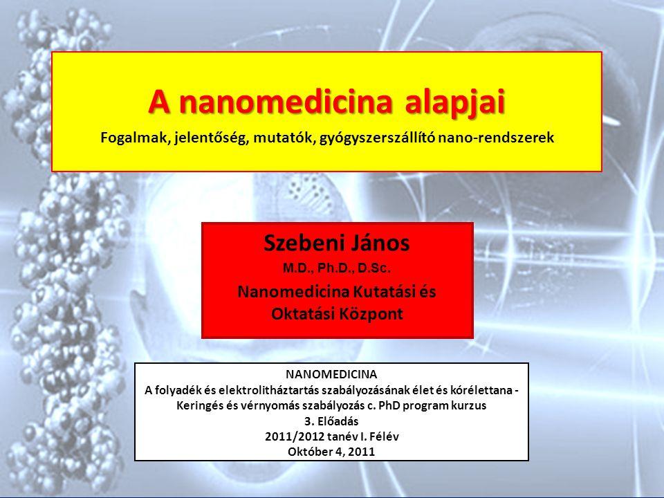 A nanomedicina alapjai Fogalmak, jelentőség, mutatók, gyógyszerszállító nano-rendszerek