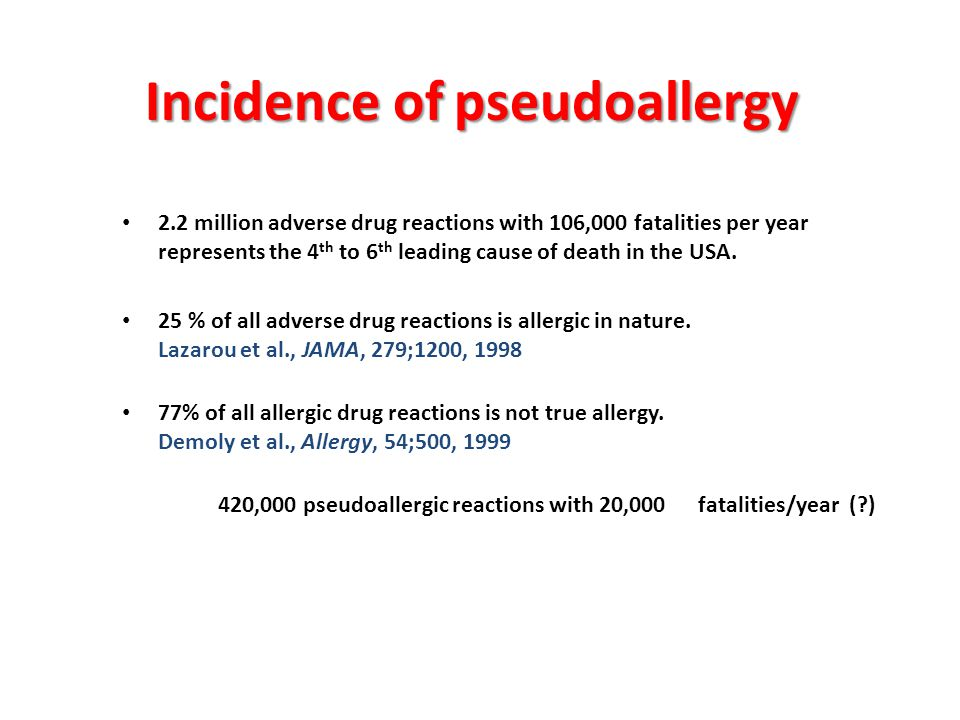 Incidence of pseudoallergy