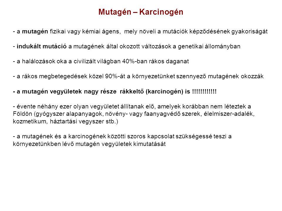 Mutagén – Karcinogén a mutagén fizikai vagy kémiai ágens, mely növeli a mutációk képződésének gyakoriságát.