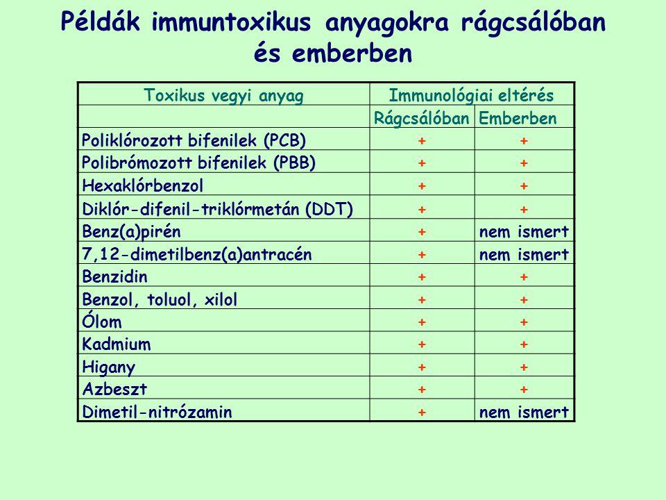 Példák immuntoxikus anyagokra rágcsálóban és emberben