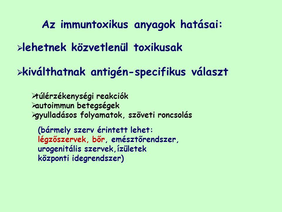 Az immuntoxikus anyagok hatásai: