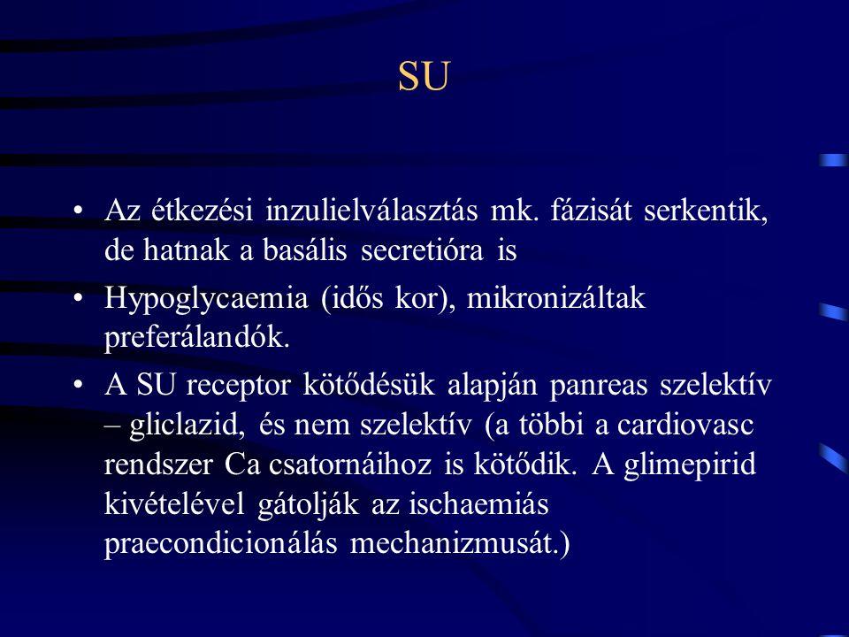 SU Az étkezési inzulielválasztás mk. fázisát serkentik, de hatnak a basális secretióra is. Hypoglycaemia (idős kor), mikronizáltak preferálandók.