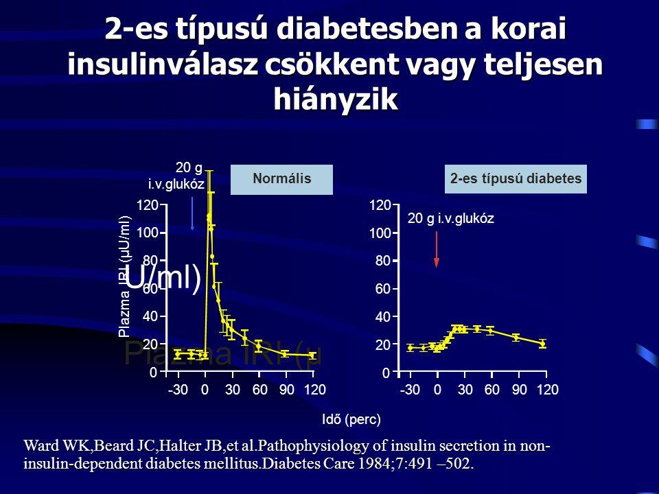 2-es típusú diabetesben a korai insulinválasz csökkent vagy teljesen hiányzik