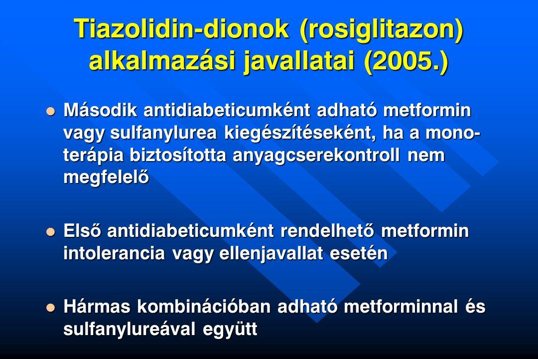 Tiazolidin-dionok (rosiglitazon) alkalmazási javallatai (2005.)