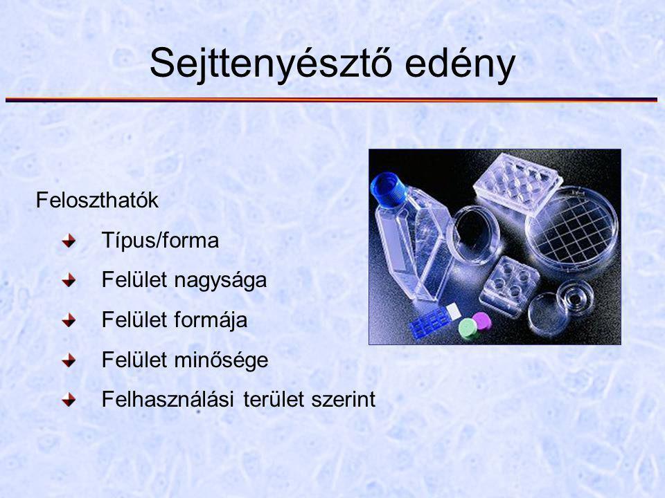 Sejttenyésztő edény Feloszthatók Típus/forma Felület nagysága