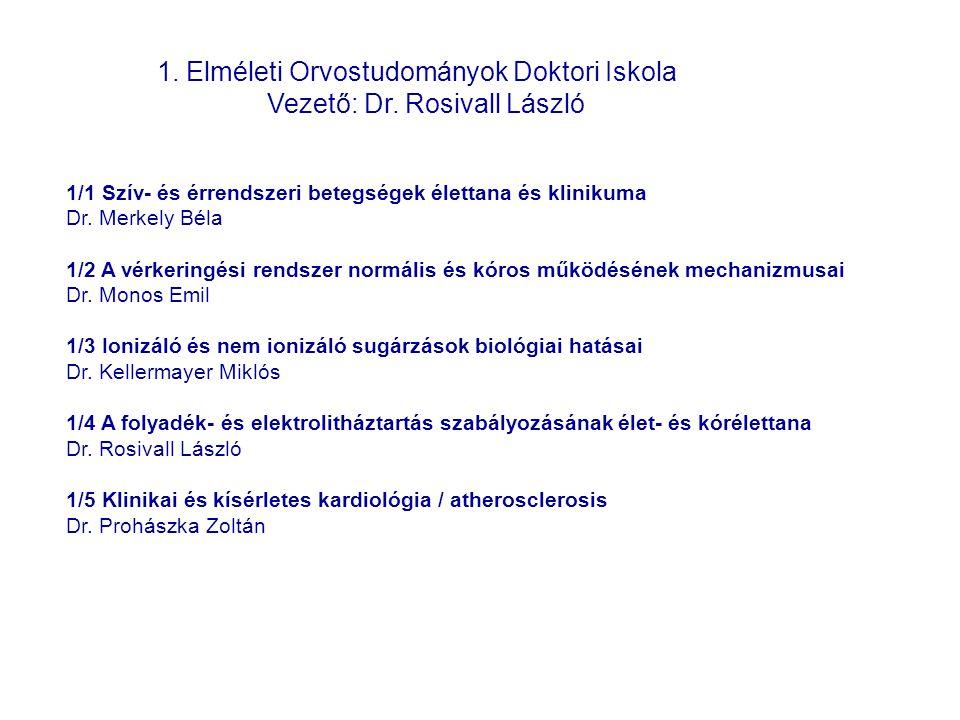 1. Elméleti Orvostudományok Doktori Iskola Vezető: Dr. Rosivall László