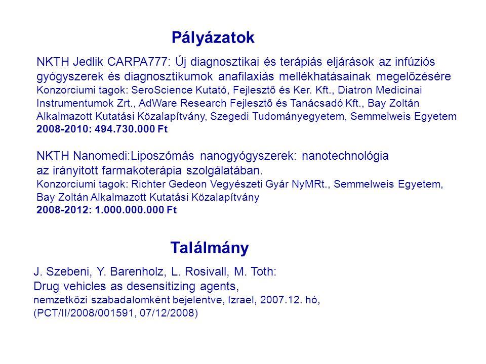 Pályázatok NKTH Jedlik CARPA777: Új diagnosztikai és terápiás eljárások az infúziós.