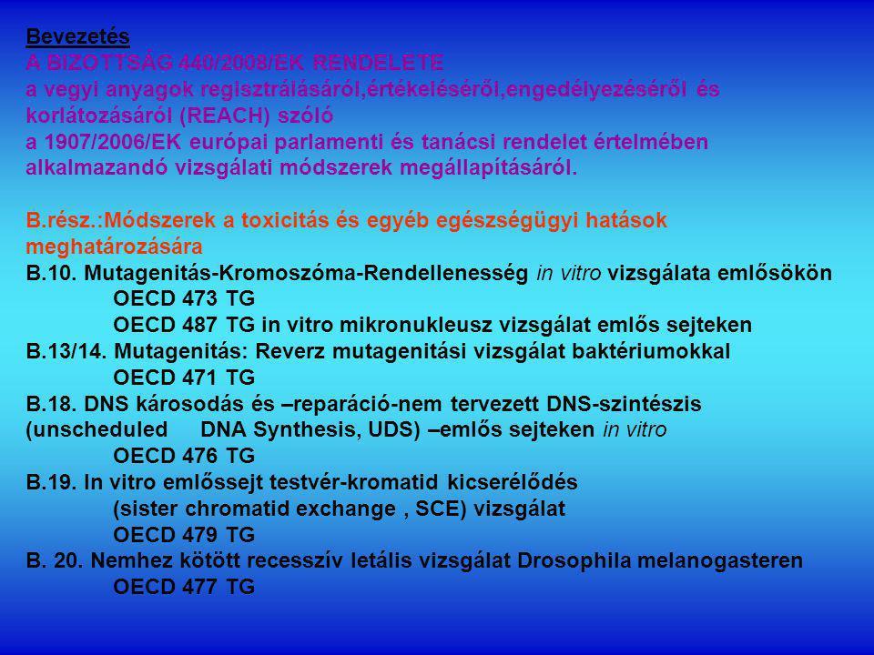 Bevezetés A BIZOTTSÁG 440/2008/EK RENDELETE. a vegyi anyagok regisztrálásáról,értékeléséről,engedélyezéséről és korlátozásáról (REACH) szóló.