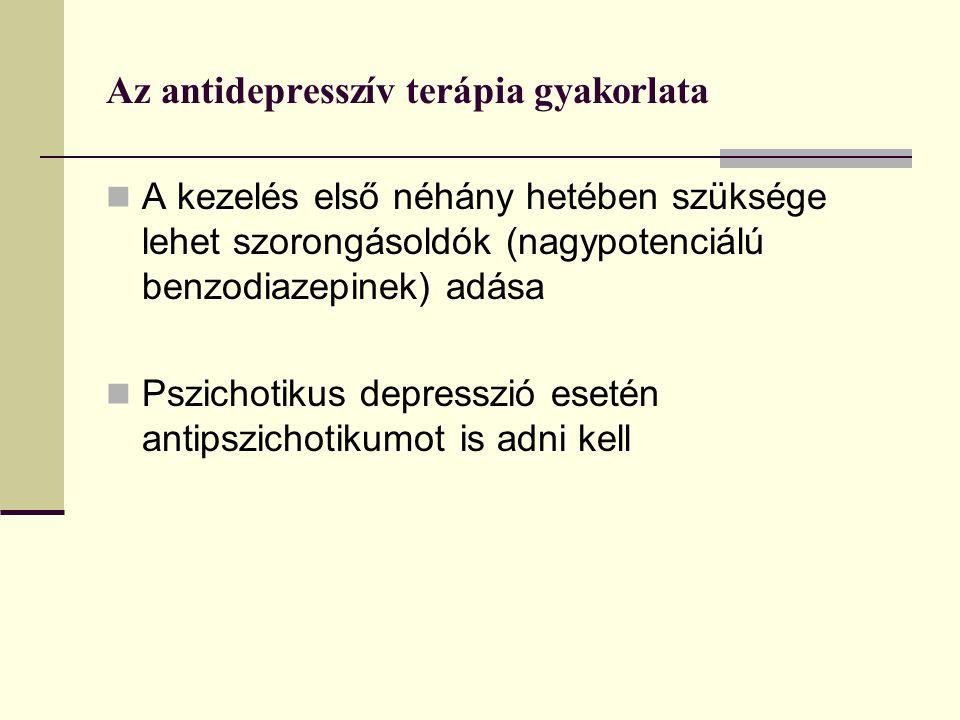 Az antidepresszív terápia gyakorlata