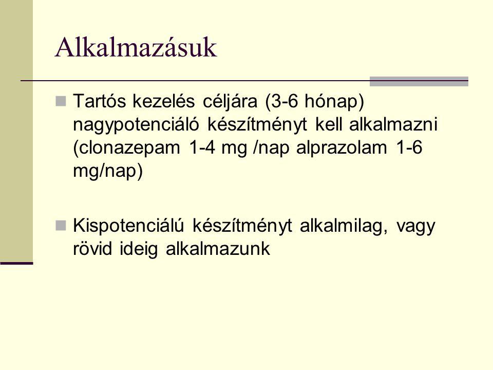 Alkalmazásuk Tartós kezelés céljára (3-6 hónap) nagypotenciáló készítményt kell alkalmazni (clonazepam 1-4 mg /nap alprazolam 1-6 mg/nap)