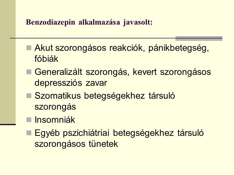 Benzodiazepin alkalmazása javasolt: