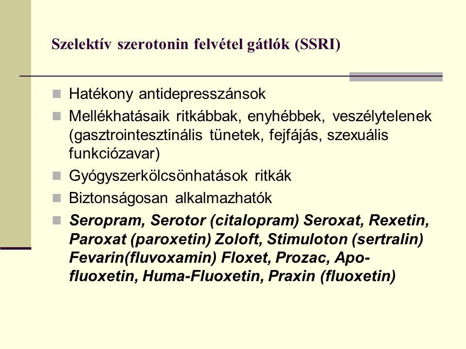 Szelektív szerotonin felvétel gátlók (SSRI)