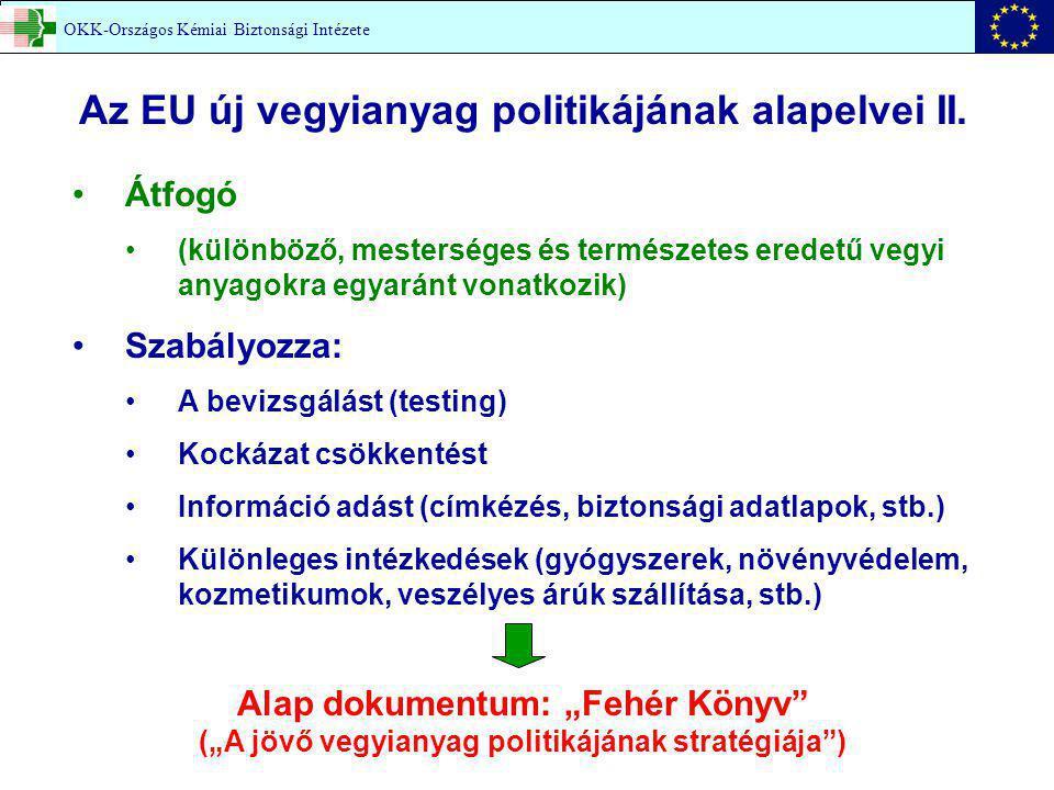 Az EU új vegyianyag politikájának alapelvei II.